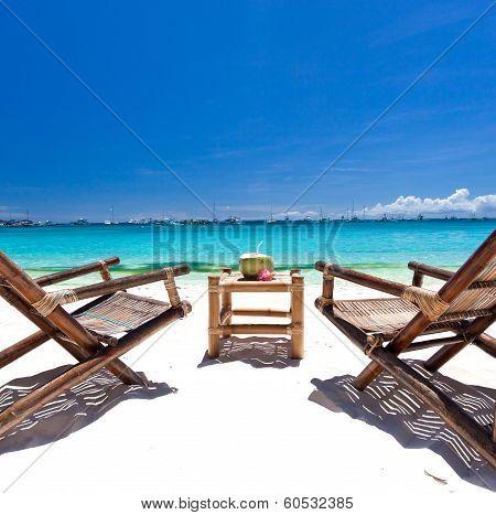 Tropical Relax On White Beach