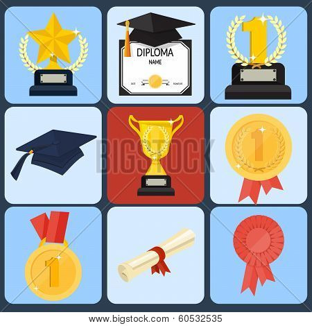 award icon set, flat ilustration