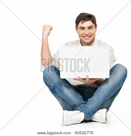 Happy Successful Man Working On Laptop