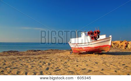 Abandoned ship at the beach