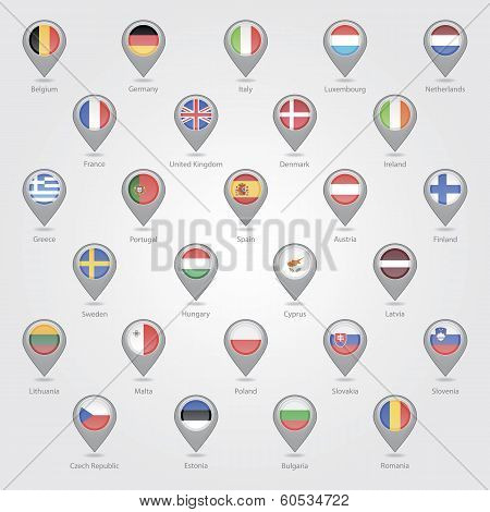 Map markers depicting the EU