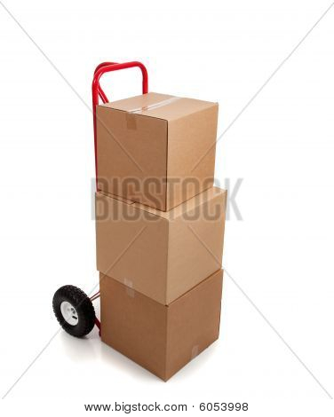 Brown Cardboard Moving Box On White With A Fragile
