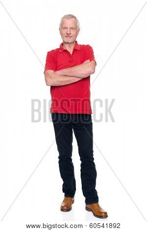 Senior man in front of white background
