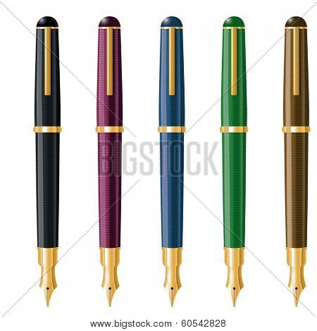 Fountain Pens Vector Illustration. Vector Illustration of five fountain pens in different colors. Each one has its own layer
