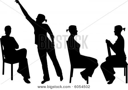 Vector Silhouette of a woman with chair