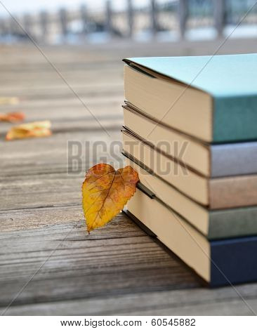 Stack of books on wooden board