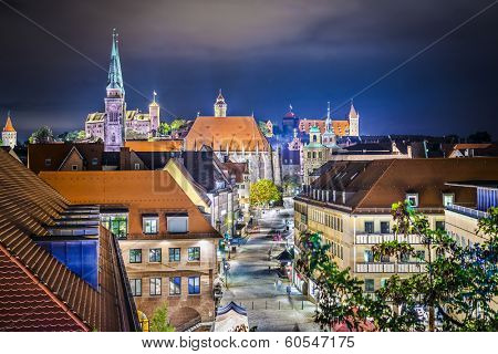 Nuremberg, Germany near the main square at night.