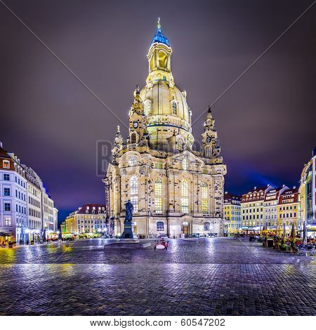 Dresden, Germany at Neumarkt Square and Frauenkirche at night.