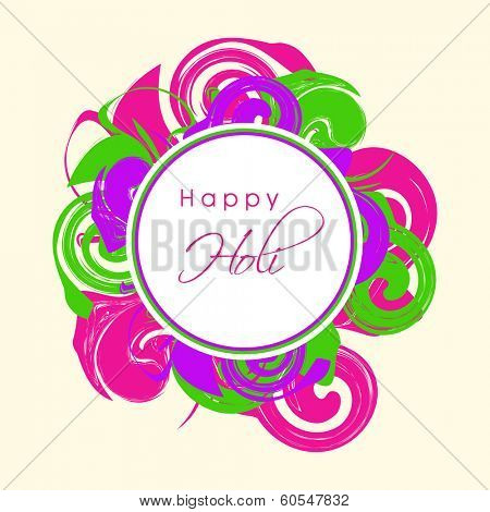 Indian festival Happy Holi celebrations sticker, tag or label on beautiful floral decorated colourful background.