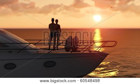 romantic couple on a pleasure boat