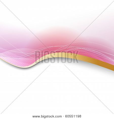 Modern Pink Background With Golden Border