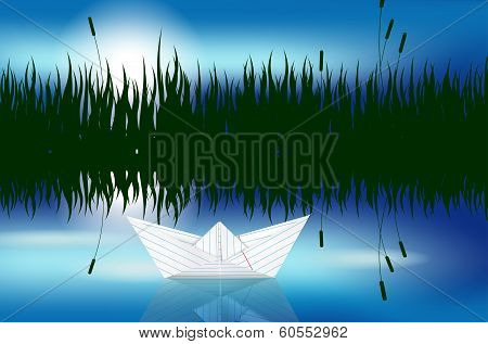 Origami paper boat on water level