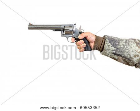 Man holding a 41 Magnum Stainless Steel revolver and pulling trigger, isolated over white