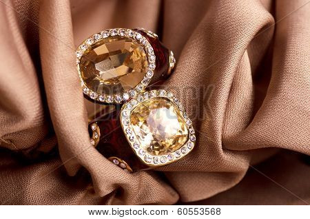 Beautiful women's jewelry jewelry on the background