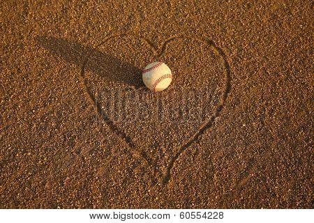 Baseball surrounded by a Heart in the Infield