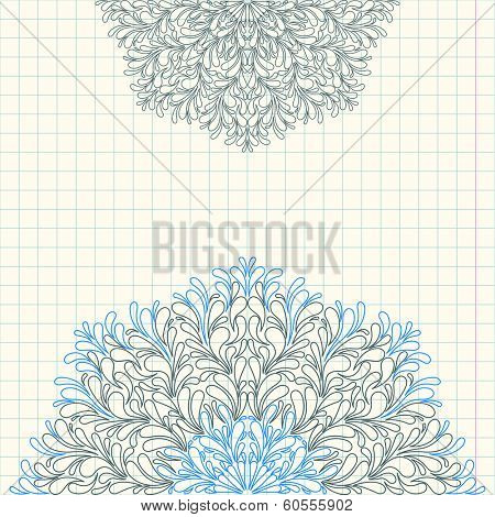 Invitation card. By hand with a ballpoint pen on a sheet of notebook. Vector illustration