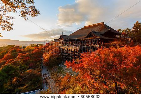 The Main Hall at Kiyomizu-dera Temple in Kyoto