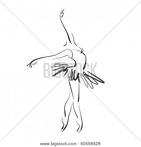 art sketched beautiful young ballerina in ballet pose on studio