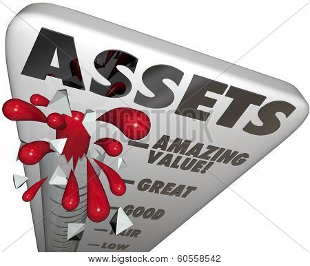 Assets Word Thermometer Measure Value Wealth Savings Investments