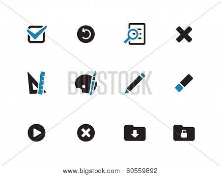 Application interface icons on white background.