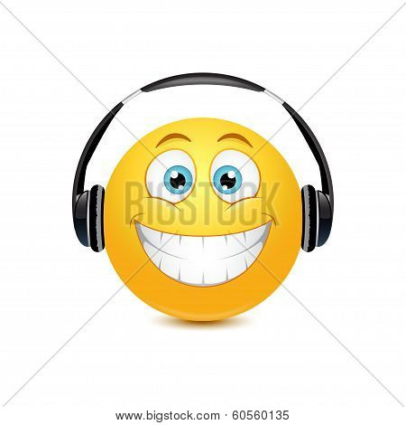 Smiley in the headphones
