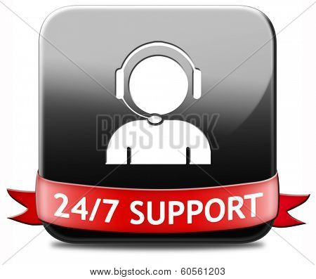 Support Desk Icon Or 24/7 Help Desk Button Technical Assitance And Customer  Service Poster