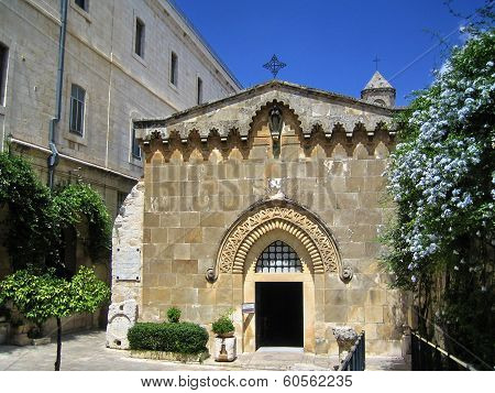 Church Of The Flagellation And The Second Station Stop Jesus Christ On Via Dolorosa