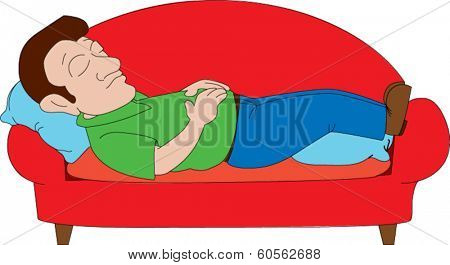 Man with sideburns napping on red sofa
