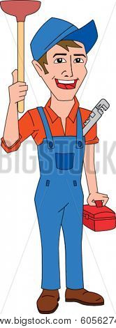 Smiling plumber holding plunger, wrench & toolbox
