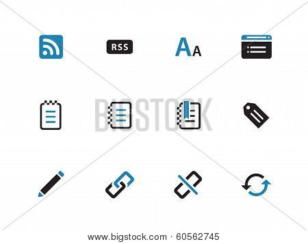 Blogger duotone icons on white background