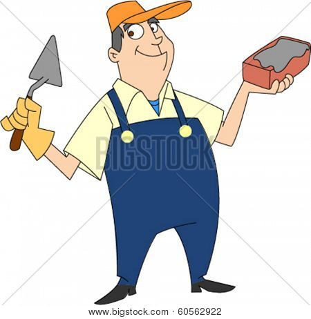 Smiling bricklayer in bib overalls holding brick and trowel