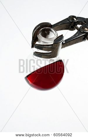 Erlenmeyer Flask With A Red Chemical Solution