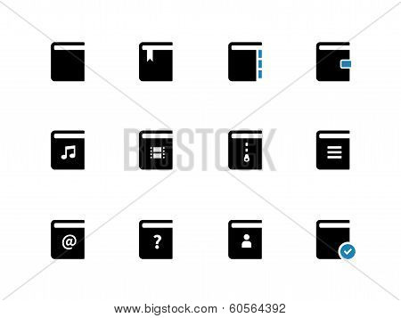 Book duotone icons on white background.
