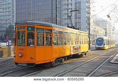 Trams On The Street Of Milan