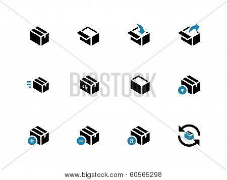 Box duotone icons on white background.