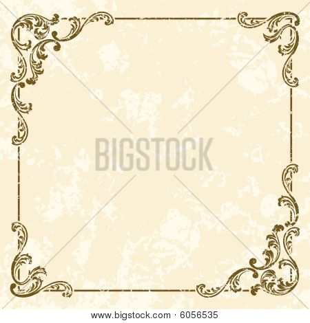 Grungy square vintage sepia frame