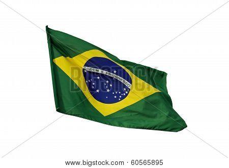 Brazilian flag, isolated on white background