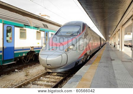 VENICE, ITALY - JUNE 12, 2011: train on Venice stantion on June 12, 2011 in Venice, Italy. Venice is a city in northeastern Italy sited on a group of 118 small islands separated by canals and linked by bridges