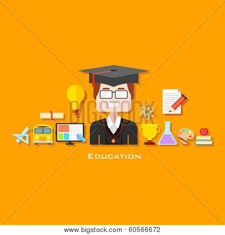 illustration of graduate with education icon in flat style