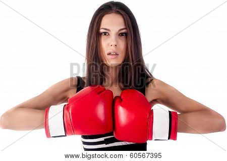 Portrait of female boxer