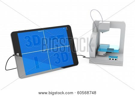 3D Printer Connected To Tablet Pc