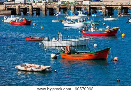 Old Pier With Boats At Sagres, Portugal
