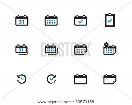 Calendar duotone icons on white background.