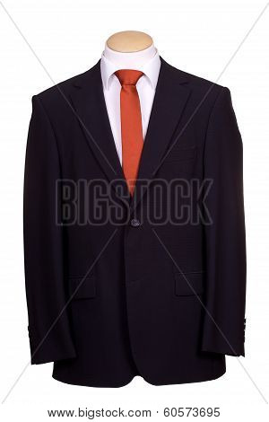suit with tie on white background