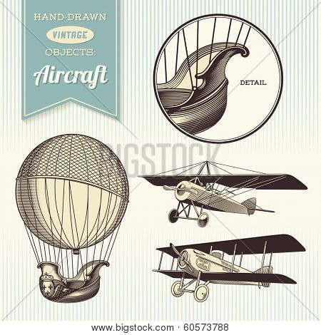 hand-drawn vintage aircraft illustrations - hot air balloon, airplane and biplane