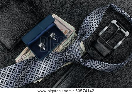 Tie, Belt, Wallet, Cufflinks, Money Lying On The Skin