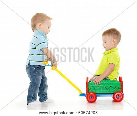 Children Are Playing With Toy Car.