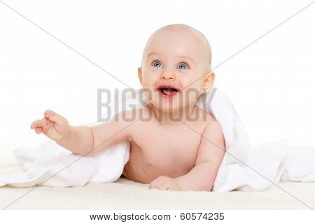 Sweet Small Baby With  Towel