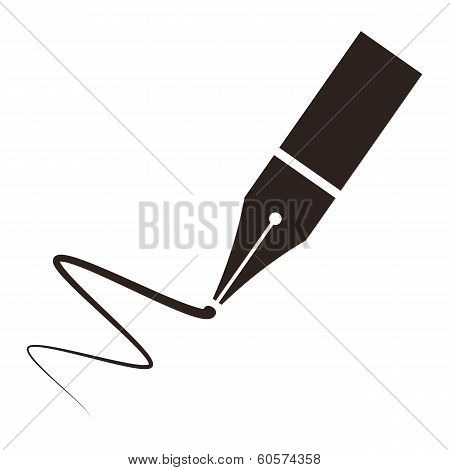 Icon Of A Fountain Pen And Signature