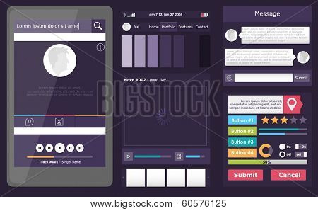 Set of flat web elements, icons and buttons for mobile app and web design